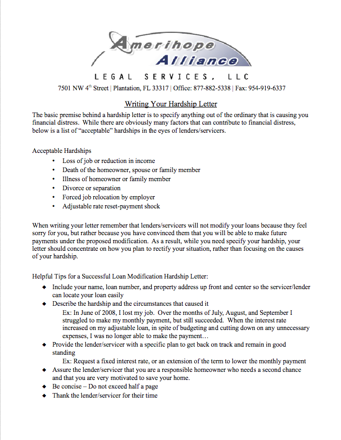 Hardship Letter For Mortgage Loan Modification from amerihopealliance.com